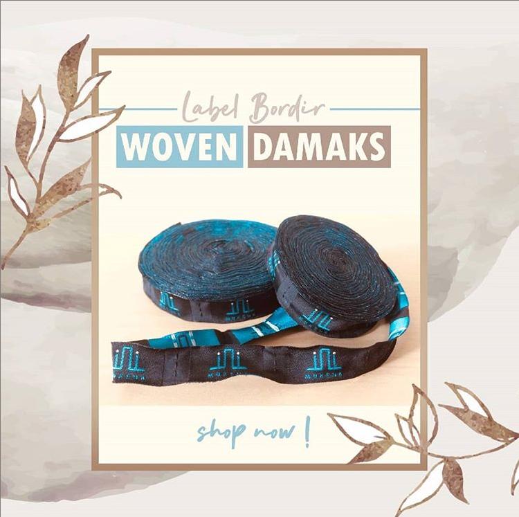 label woven damask